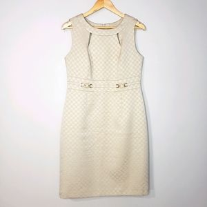 Tahari Beige Sleeveless Size 10 Lined Sheath Dress